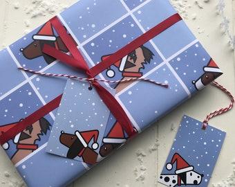 Modern Dog christmas gift wrapping paper set