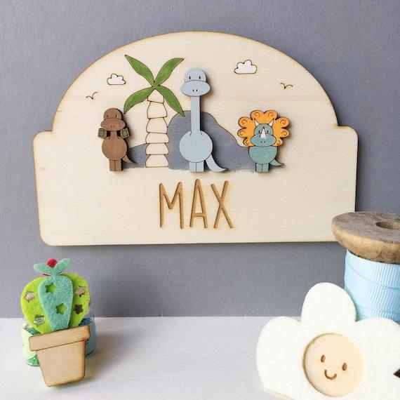 Dinosaur door sign - personalised child's door plaque - dinosaurs - child's bedroom sign