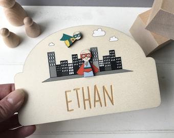Personalised Super Hero Children's Door Plaque