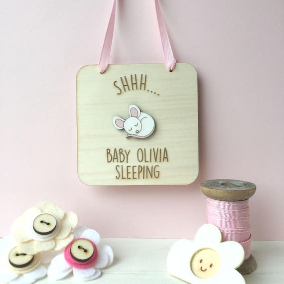 New baby name sign - Woodland animals - Nursery name plaque - baby mouse
