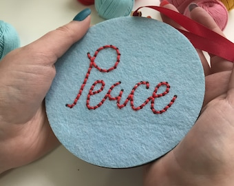 Peace bauble - simple embroidery kit