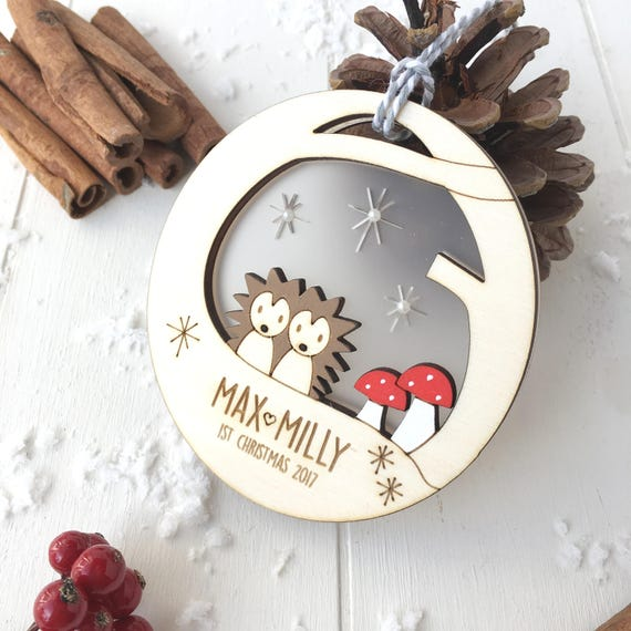 Baby twin's hedgehog first christmas bauble - personalised twins first christmas - christmas bauble