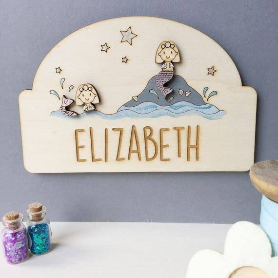 Mermaid door sign - personalised door plaque - mermaids - girl's door sign