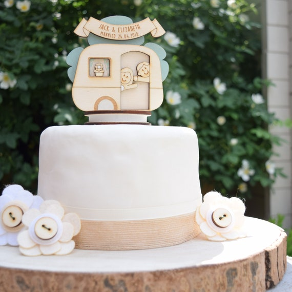 Caravan wedding topper - personalised cake topper - keepsake decoration