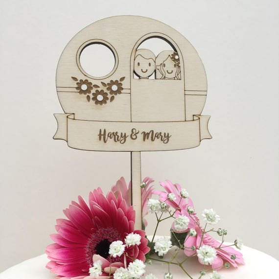 Vintage Caravan Wedding cake topper - Wedding topper - Caravan Topper - Cake topper
