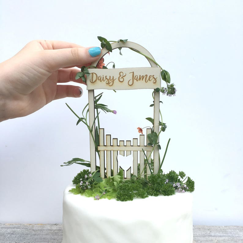 Rustic love gate wedding cake topper image 0