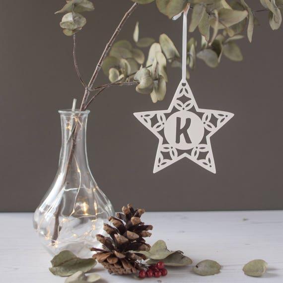 Christmas star tree decoration - Personalised tree decoration - scandi style decoration
