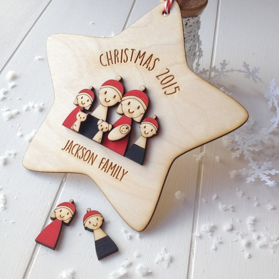 Family Christmas decoration - personalised tree decoration