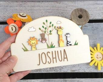 Personalised Jungle door plaque | jungle theme child's room sign