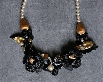 Bib necklace, Orchid, flowers and beads