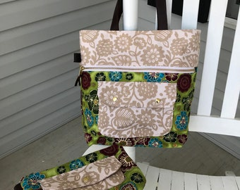 Large Caravan Tote and Matching Zippered pouch, Shoulder bag, Pool tote