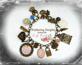 Wuthering Heights, Emily Bronte, charms bracelet, novel fan,  Catherine Earnshaw and Heathcliff, made with love,