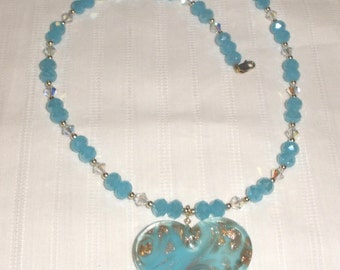 Sea Blue Heart and Gold Necklace