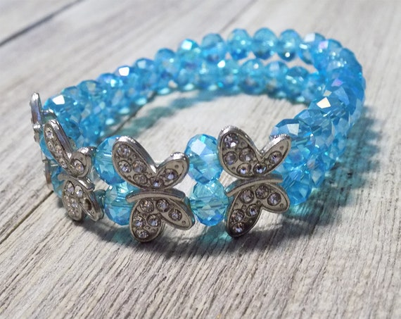 handmade beaded blue butterfly bracelet