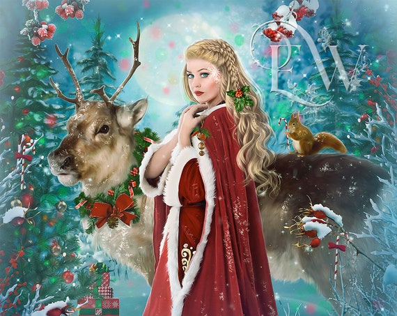 Mother Christmas Goddess fantasy Holiday with reindeer art print