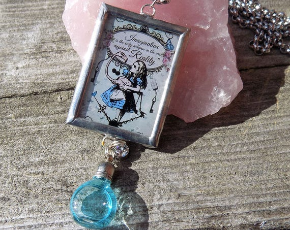handmade Vintage Alice in wonderland necklace