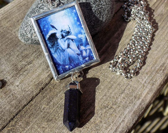 handmade angel art necklace with crystal