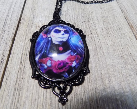 Day of the Dead Gothic Sugar skull Victorian style cameo cabochon necklace in black