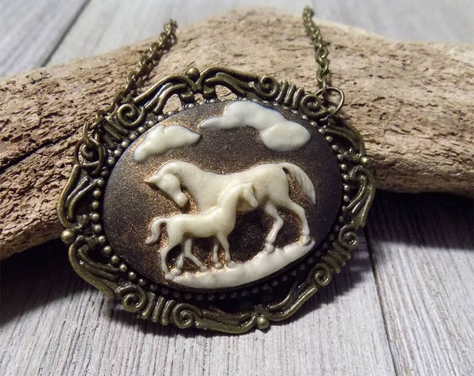handmade Victorian style cameo horse necklace in antique bronze