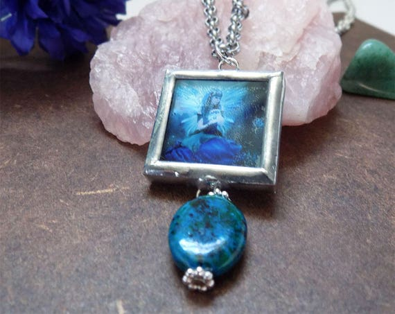 blue fae fantasy necklace with crystal