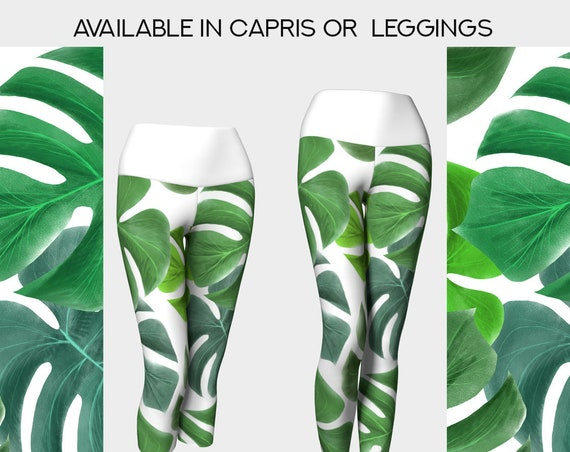 tropical green leaves yoga leggings or capris