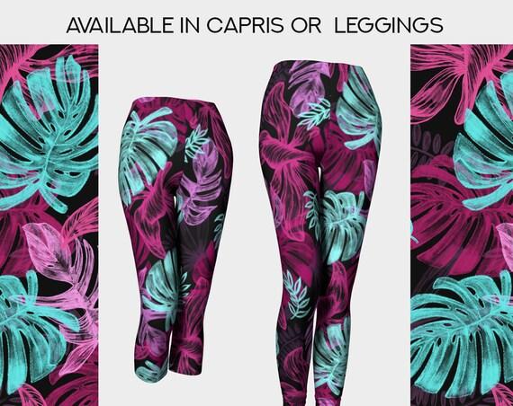 beautiful colorful leaves botanical leggings or capris