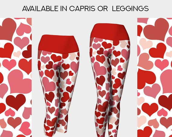 adorable Valentines day red and pinks hearts pattern yoga pants or capris