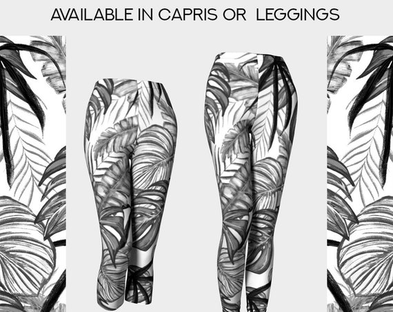 black and white tropical leaves stretch capris or leggings