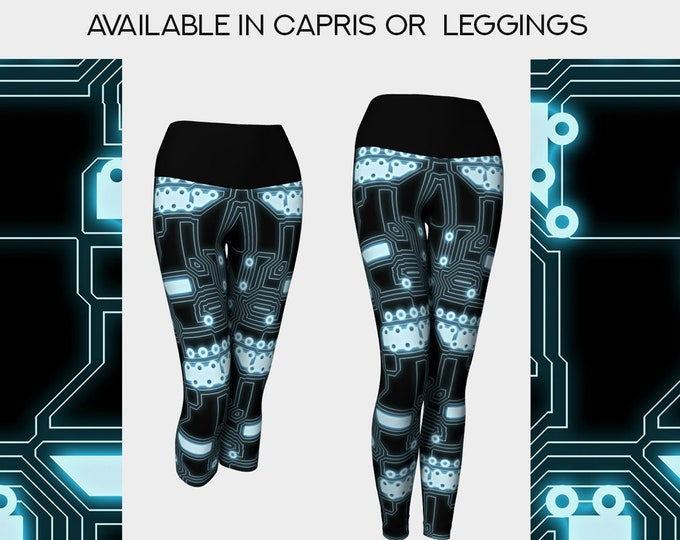 techy cyborg yoga leggings or capris in black and aqua