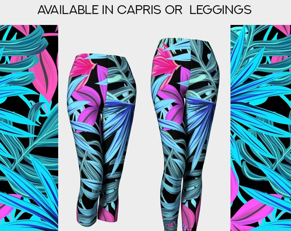 botanical capris/leggings black with colorful leaves