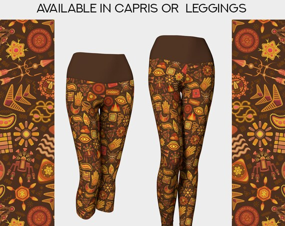 Aztec tribal print pattern yoga leggings or capris
