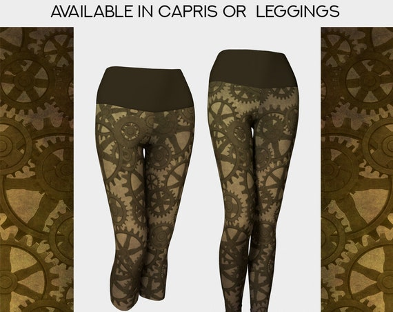 unique Steampunk gears leggings or capris in brown