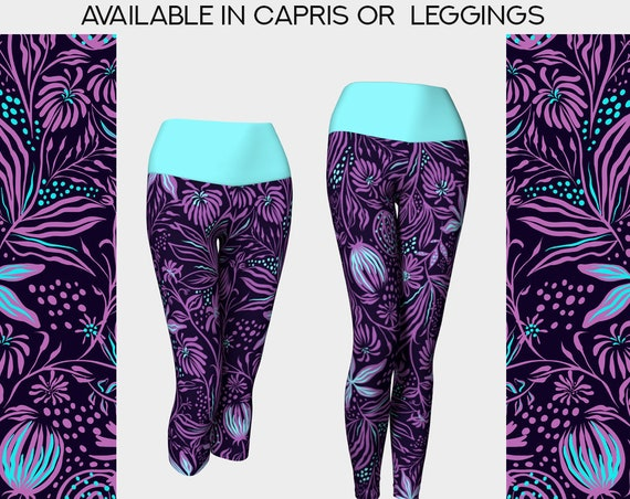 purple and aqua floral yoga leggings or capris
