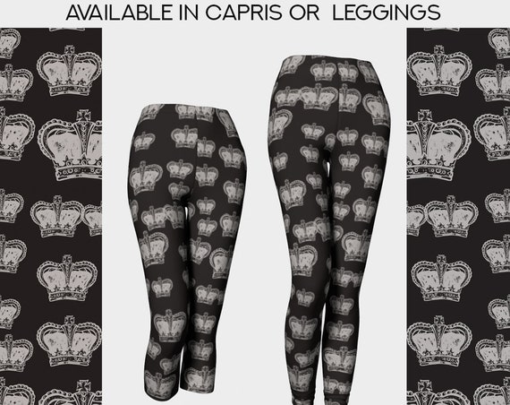 black and beige Royal crown print yoga leggings and capris