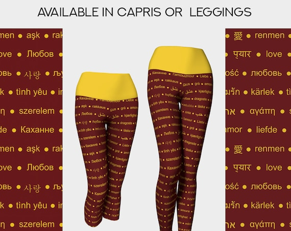 love yoga leggings and capris in maroon and yellow