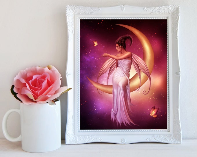 pink fairy on the moon art print