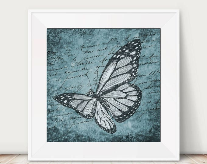 vintage style blue butterfly art print wall decor