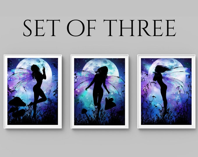 set of three whimsical fairy art prints