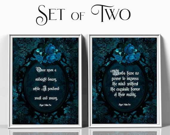 Edgar Allan Poe quote print set, blue and black, Poetry print, typography print, Gothic wall art