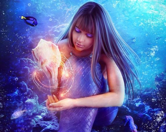 beautiful mermaid art print, under water siren, magical mermaid wall decor. fantasy painting