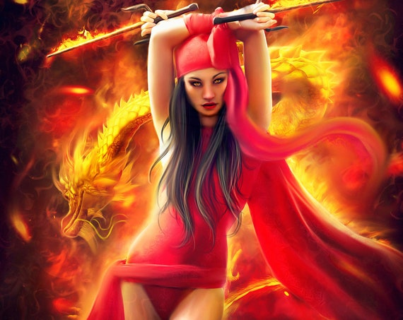 Warrior woman with Oriental dragon fantasy art print, fire woman wall decor, dragon poster