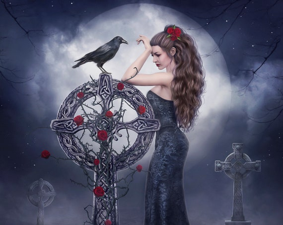 Gothic woman in graveyard with crow art print, Gothic digital painting of sad woman in cemetery