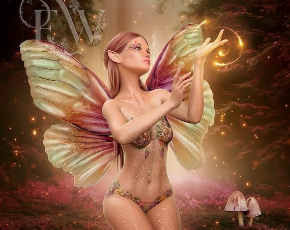 beautiful Fae art print, fairy wall decor, faerie poster, digital painting, digital art