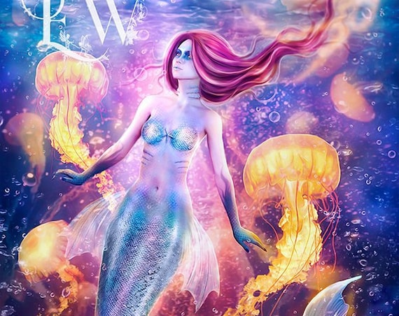 colorful fantasy mermaid art print, siren wall art, jellyfish art print, digital painting