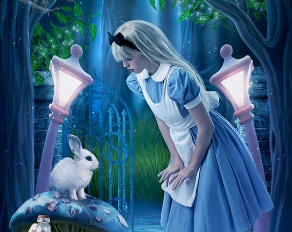 Wonderland fairytale art print, wonderland wall art, Alice decor, digital art