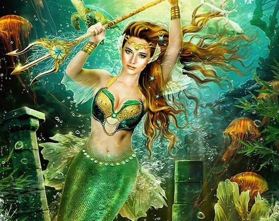 fantasy mermaid art print, siren wall art, mermaid poster, mermaid decor