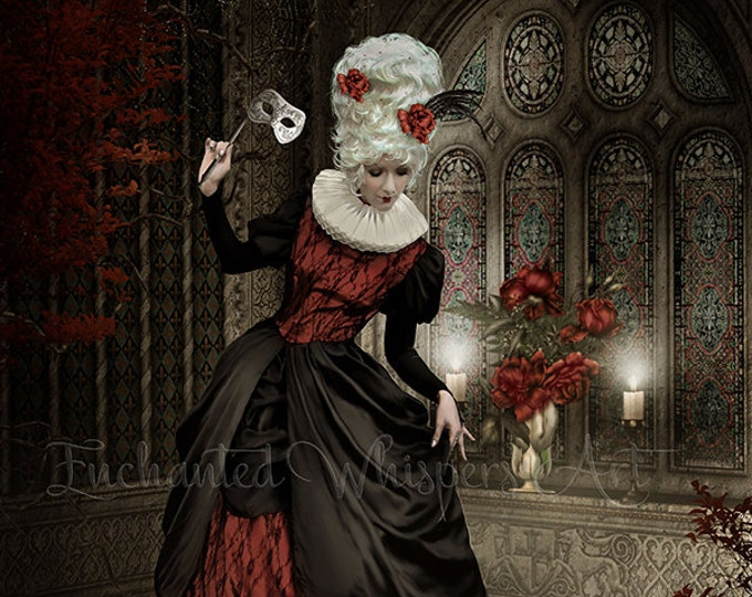 fantasy Victorian woman with cat art print