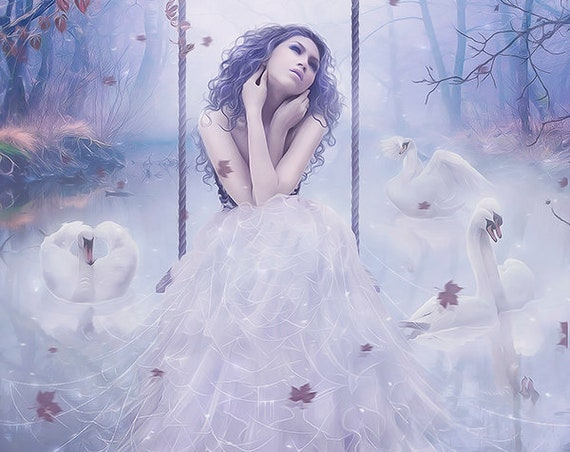 Winter Goddes in forest with swans art print