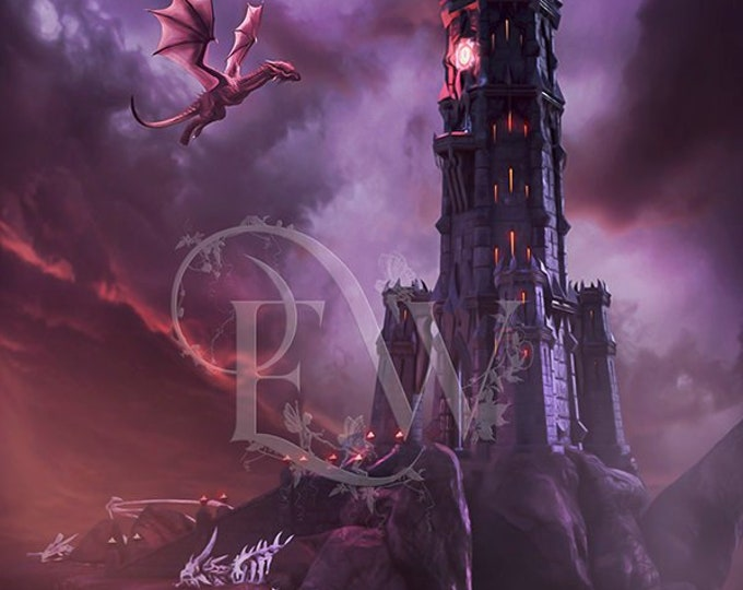 fantasy castle with dragon 3d background for photo compositing