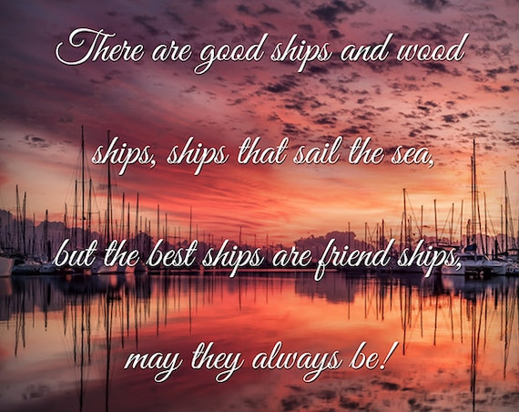 Friendship quote print, sail boats nautical photography